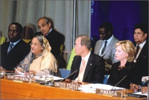 Prime minister Sheikh Hasina, UN secretary general Ban Ki-Moon and US secretary of State Hilary Clinton.   Photo: PID