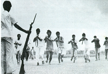 Freedom Fighters getting trained with limited resources