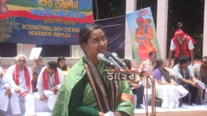 Dipu Moni, as the Special Guest speaking for Adibashi rights. 9 August 2008. Courtesy: Adibashi Forum Photo