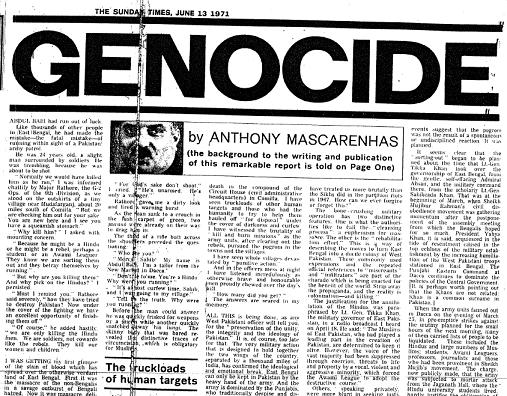 on 18 June 1971, the Sunday Times published a long piece of reportage