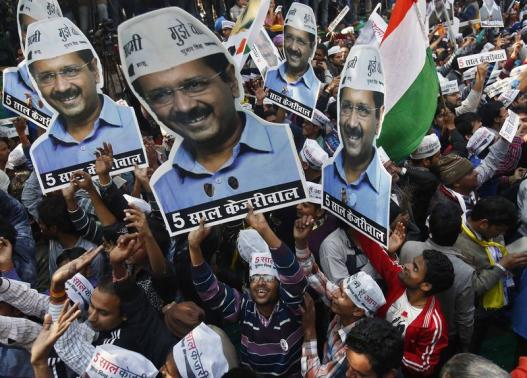 Supporters of AAP hold portraits of AAP chief and its chief ministerial candidate for Delhi, Arvind Kejriwal, during celebrations Feb 10, 2015. REUTERS/Anindito Mukherjee.